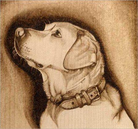Выжженный рисунок можно расписать акварельными или масляными красками.